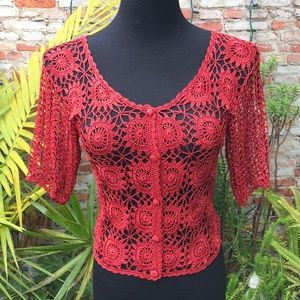 Hand crocheted shrug